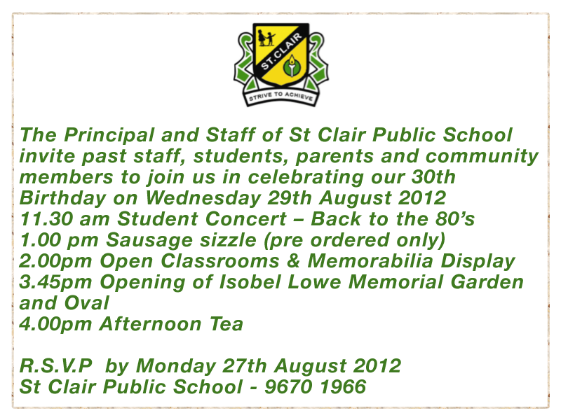 St Clair Public School Invite Past Staff